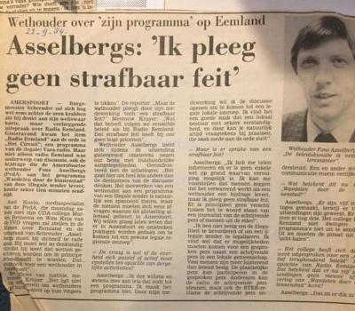 Radio Eemland Kranten stuk 1984